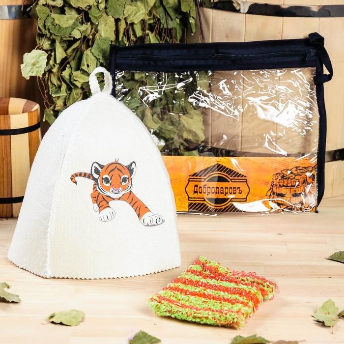 Набор для бани детский Тигр в косметичке шапка с принтом, мочалка
