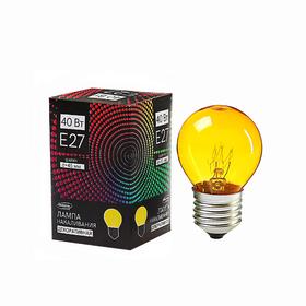 Лампа накаливания Luazon Lighthing E27, 40W, для белт лайта, желтая, 220 В Ош
