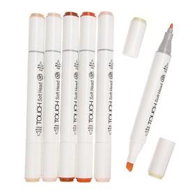 Набор маркеров Superior, профессиональные, двусторонние, наконечник мягкая кисть, 6 шт., 6 цветов, телесные оттенки, MS-888