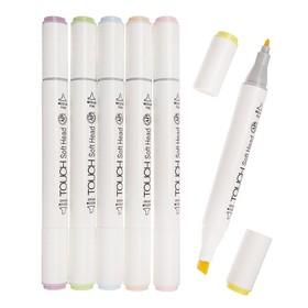 Набор маркеров Superior, профессиональные, двусторонние, наконечник мягкая кисть, 6 шт., 6 цветов, пастель, MS-888