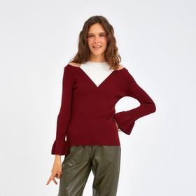 Джемпер вязаный с открытыми плечами, размер 44, цвет бордо Ош