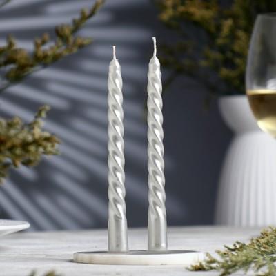 Набор свечей витых, 1,5х 15 см, 2 штуки, серебряный металлик - Фото 1