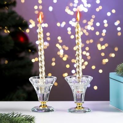 Набор свечей витых, 1.5х15 см, 2 штуки, золотой металлик - Фото 1