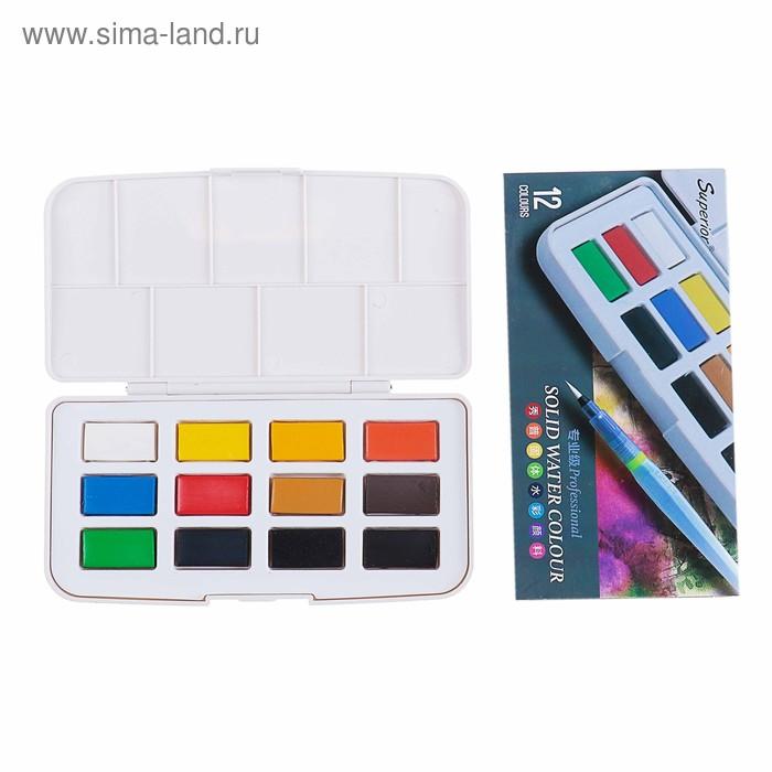 Краски акварельные Superior, профессиональные, 12 цветов, в кюветах, с палитрой
