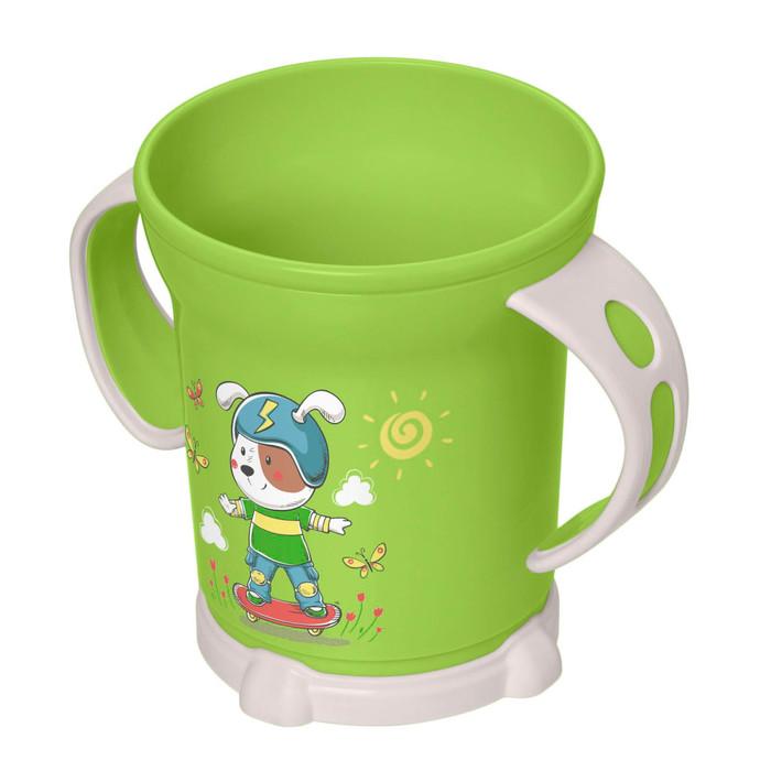 Чашка детская с декором, 270 мл, цвет зеленый, рисунок МИКС