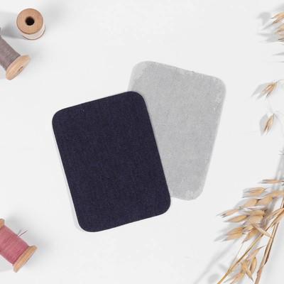 Заплатки для одежды, 10 × 7,5 см, термоклеевые, пара, цвет джинс