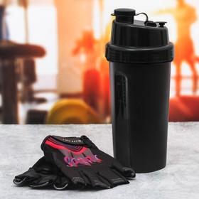 Набор для тренировок «Спорт»: шейкер 600 мл, перчатки 9 × 15 см
