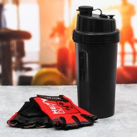 Набор для тренировок «Сильный»: шейкер 600 мл, перчатки 9 × 15 см