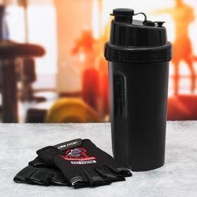 Набор для тренировок «Go hard»: шейкер 600 мл, перчатки 9 × 15 см