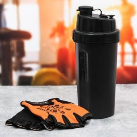 Набор для тренировок «True»: шейкер 600 мл, перчатки 10 × 15 см