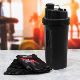 Набор для тренировок «01»: шейкер 600 мл, перчатки 11 × 15 см