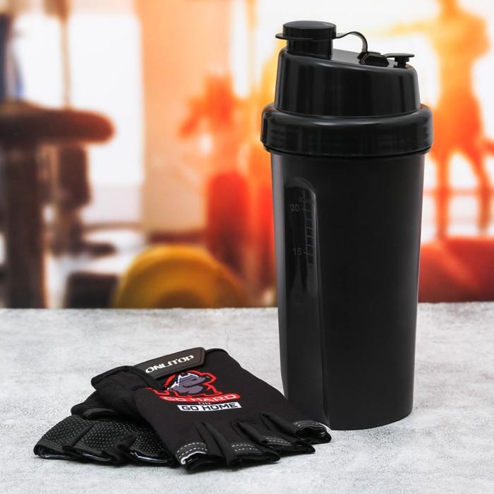 Набор для тренировок «Go hard»: шейкер 600 мл, перчатки 10 × 15 см