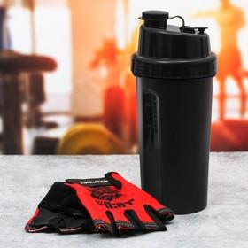Набор для тренировок «Fit or fight»: шейкер 600 мл, перчатки 10 × 15 см