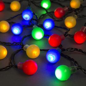 """Гирлянда """"Нить"""" с насадками """"Шарики Цветные"""", 5 м, LED-30-220V, 8 режимов, нить тёмная, свечение мульти"""