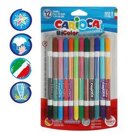 Фломастеры двусторонние 24 цвета /12 штук Carioca BiCOLOR, 1-4.7 мм, в блистере