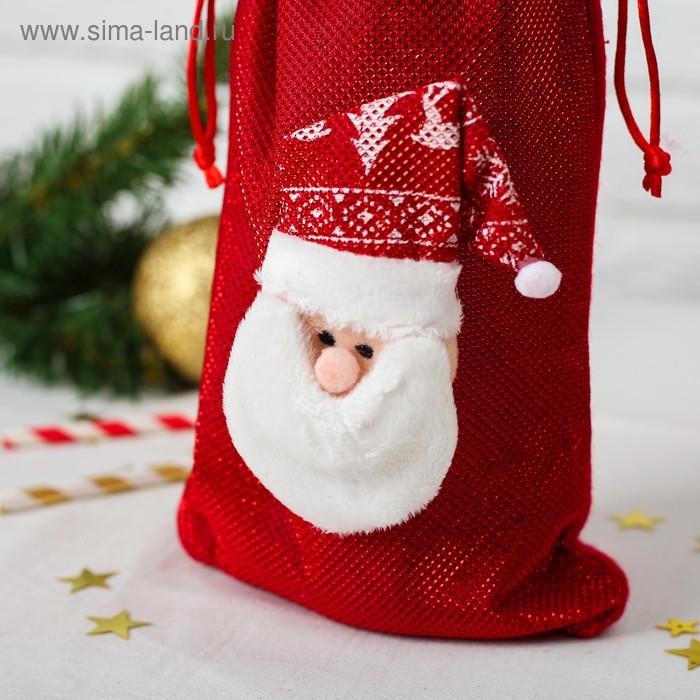 Одежда на бутылку «Дед Мороз колпак с рисунком», на завязках