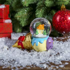Сувенир полистоун водяной шар 'Рожок мороженого с домиком' d=4,5 см Ош