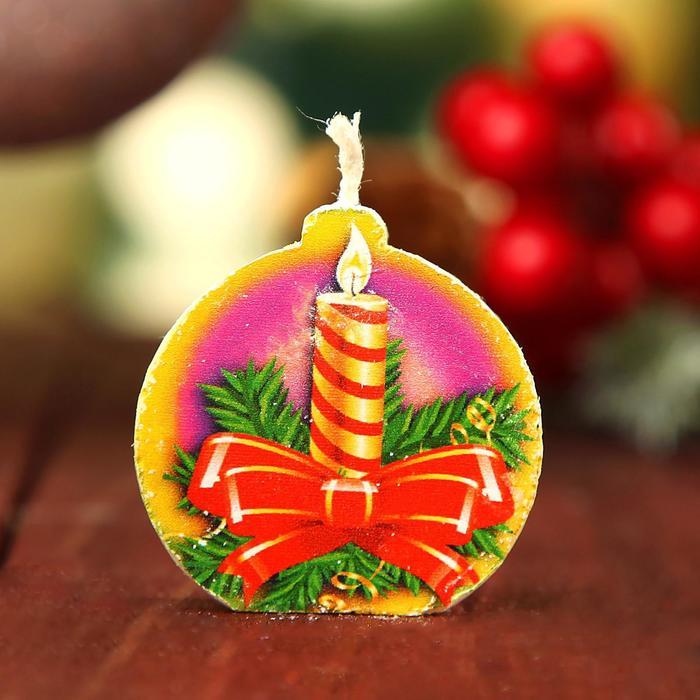 Свеча-медальон Новогодняя свеча 4х4см