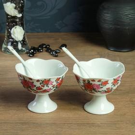 Набор: креманки 2 шт. 10 × 8,5, 0,2 л, ложки 2 шт. 15 × 2 см, каменная керамика