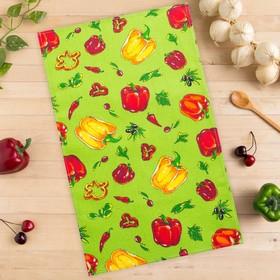 Полотенце вафельное Collorista Перцы, цвет зеленый 35х58,100% хл,160 г/м²