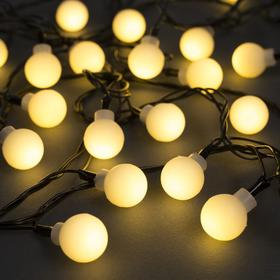 """Гирлянда """"Нить"""" 5 м с насадками """"Шарики белые"""", IP20, тёмная нить, 30 LED, свечение тёплое белое, 8 режимов, 220 В"""