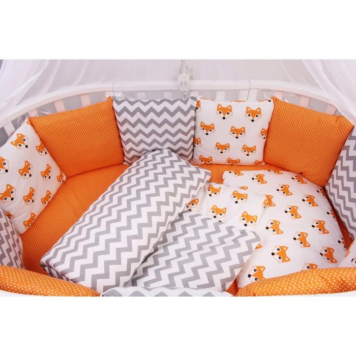 Борт в кроватку Lucky, 12 предметов оранжевый, поплин/бязь