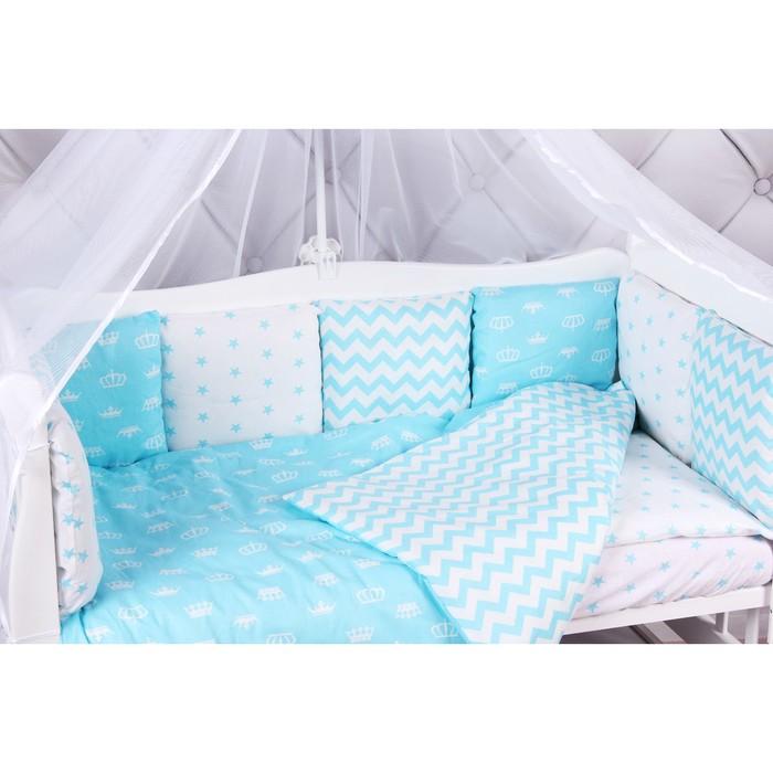 Борт в кроватку Royal Baby, 12 предметов бязь, бирюзовый