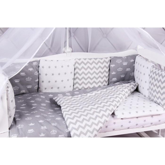 Борт в кроватку Royal Baby, 12 предметов бязь, серый