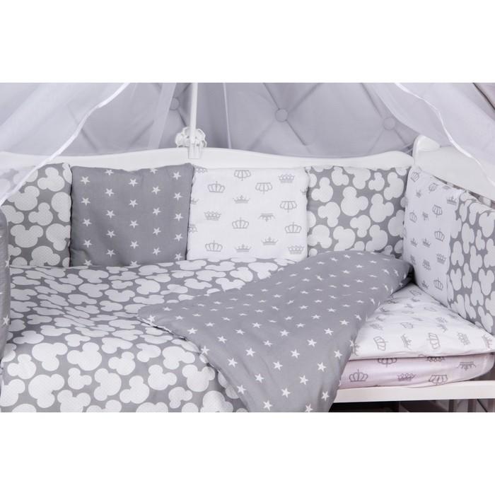 Борт в кроватку Silver 12 предметов серый