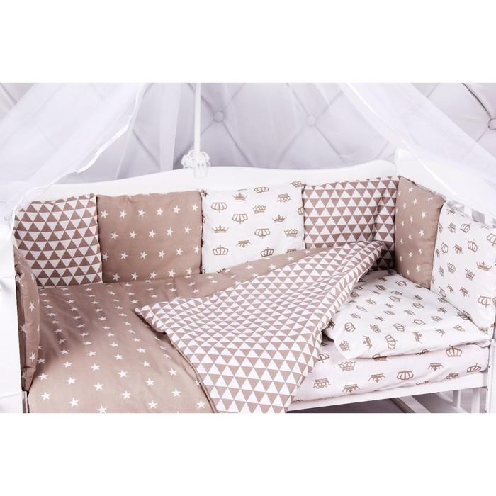Борт в кроватку Royal Baby, 12 предметов, бязь, коричневый