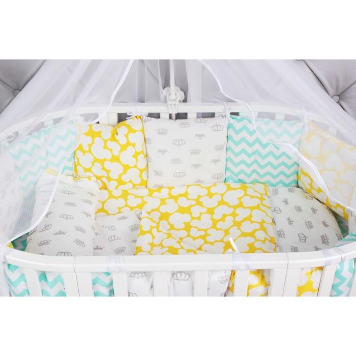 Борт в кроватку Happy Baby, 12 предметов , бязь, мятный/жёлтый