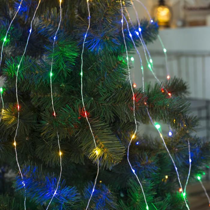 """Гирлянда """"Конский хвост"""" 15 нитей по 2 м , IP20, серебристая нить, 300 LED, свечение мульти, фиксинг, 220 В"""