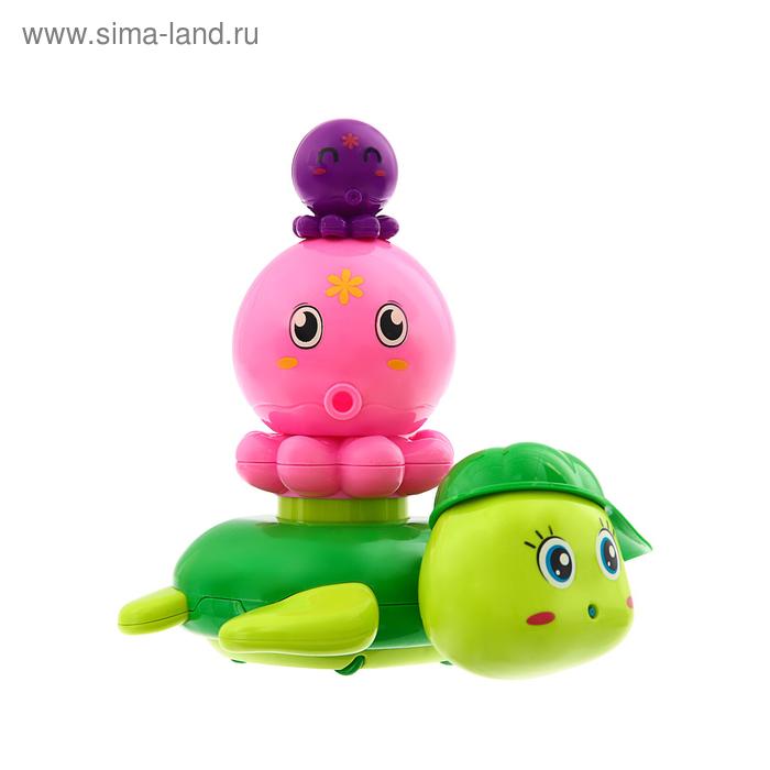 Игрушки для купания «Черепашка с осьминожками», цвет МИКС