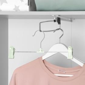 Вешалка для брюк и юбок с зажимами 30×13,5 см, цвет МИКС