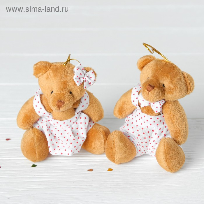 Подвеска «Мишка костюм в горошек», мальчик и девочка, цвета МИКС