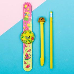 Набор «Фрукты», часы наручные, ручка, карандаш, 13,5 х 26,5 см Ош