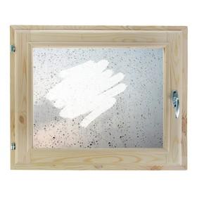 Окно 40х60 см, 'Капли на стекле', однокамерный стеклопакет, хвоя Ош
