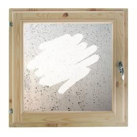 Окно 50х50 см, 'Капли на стекле', однокамерный стеклопакет, хвоя Ош