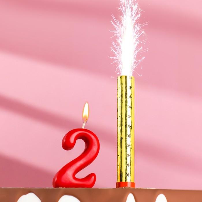 Свеча для торта цифра Овал красная 2  фонтан