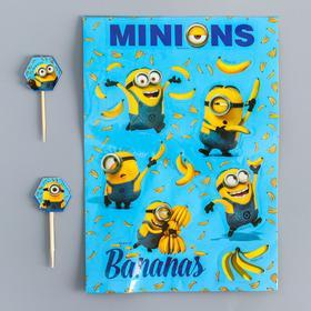 Шпажки 'Bananas!', Гадкий Я, (набор 12 штук) + наклейки Ош