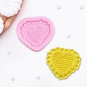 Молд силиконовый 6×6 см 'Сердце кружевное' Ош