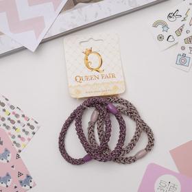 Резинка для волос 'Джина' (цена за штуку) блеск, розовый и сиреневый Ош