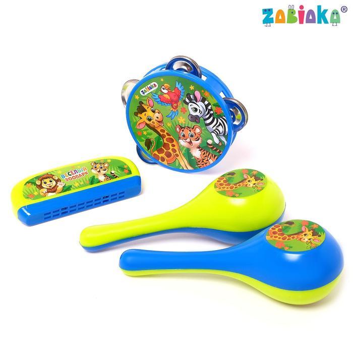 Набор музыкальных инструментов Весёлый зоопарк бубен, 2 маракаса, губная гармошка