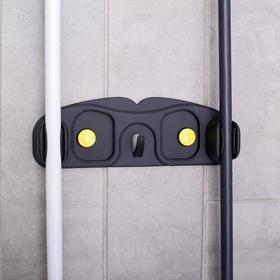 Держатель для уборочного инвентаря с крючками, 30×10×5 см, цвет МИКС Ош