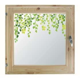 Окно 50х50 см, 'Листочки', однокамерный стеклопакет, хвоя Ош