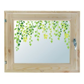 Окно 40х60 см, 'Листочки', однокамерный стеклопакет, уплотнитель, хвоя Ош