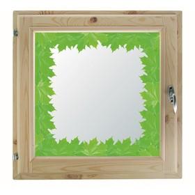 Окно 40х60 см, 'Кленовые листья', однокамерный стеклопакет, хвоя Ош