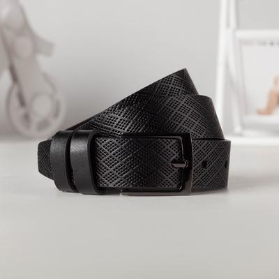 Ремень, ширина - 3 см, пряжка тёмный металл, цвет чёрный