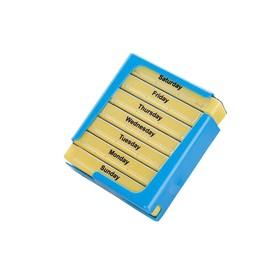Таблетница прямоугольная на 7 дней, 10,5х12,6х4,3 см, голубая