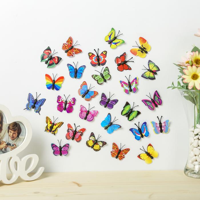 Магнит пластик Маленькая бабочка МИКС 4 см